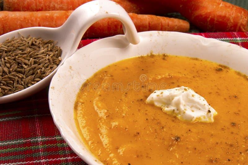 Σούπα καρότων με το γιαούρτι και το κύμινο στοκ φωτογραφίες