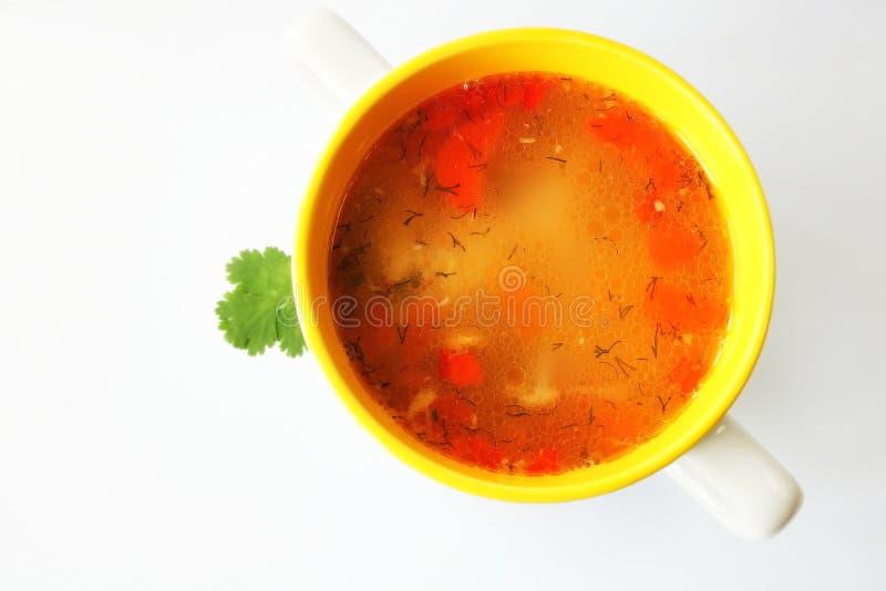 Σούπα κινεζική σούπα εστιατορίων τροφίμων κοτόπουλου Σούπα βασισμένη στο ζωμό κοτόπουλου λαχανικά σούπας κοτόπουλου να είστε θα μ στοκ φωτογραφία με δικαίωμα ελεύθερης χρήσης