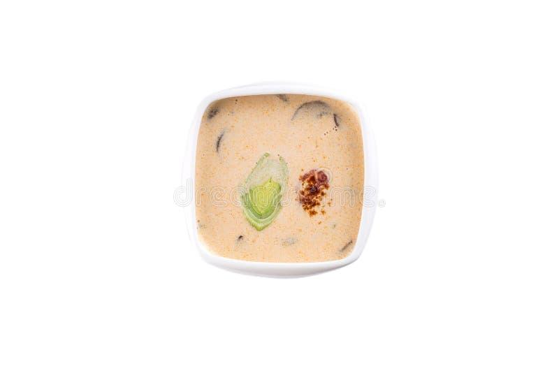 Σούπα κρέμας με το πράσο στο τετραγωνικό κύπελλο που απομονώνεται στο άσπρο υπόβαθρο στοκ φωτογραφία