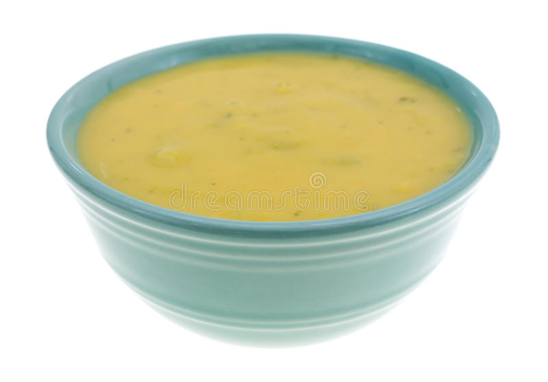 Σούπα μπρόκολου και τυριών σε ένα μικρό κύπελλο στοκ φωτογραφία με δικαίωμα ελεύθερης χρήσης