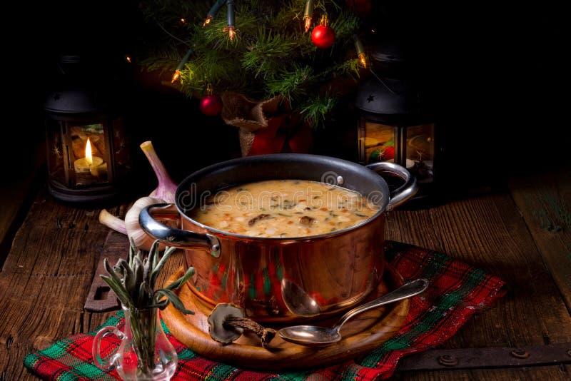 Σούπα ξύλων καρυδιάς μανιταριών Χριστουγέννων στοκ εικόνες με δικαίωμα ελεύθερης χρήσης