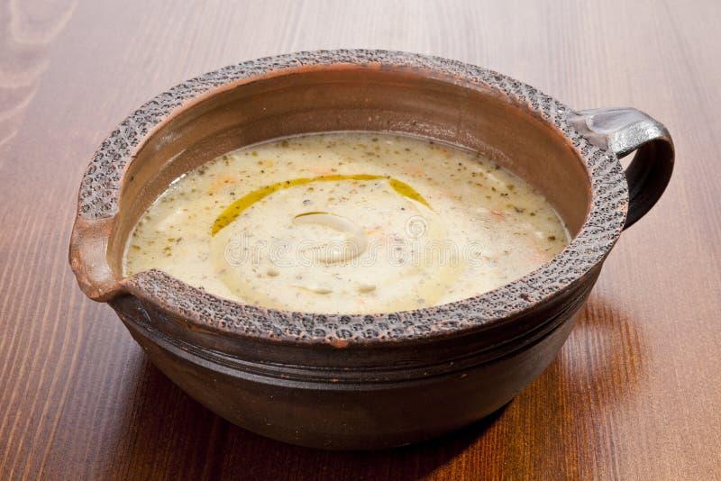 Σούπα πατατών με το λαχανικό στοκ εικόνα