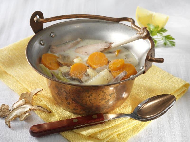 Σούπα φασιανών τραχουριού στο καζάνι στοκ εικόνα