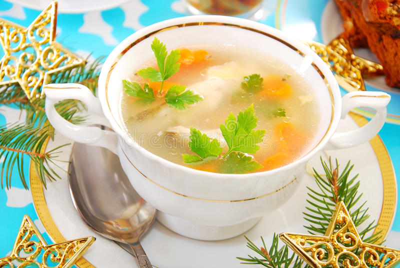 Σούπα ψαριών κυπρίνων για τα Χριστούγεννα στοκ εικόνες