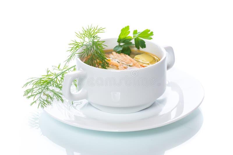 Σούπα ψαριών με τα λαχανικά σε ένα πιάτο στοκ εικόνα με δικαίωμα ελεύθερης χρήσης