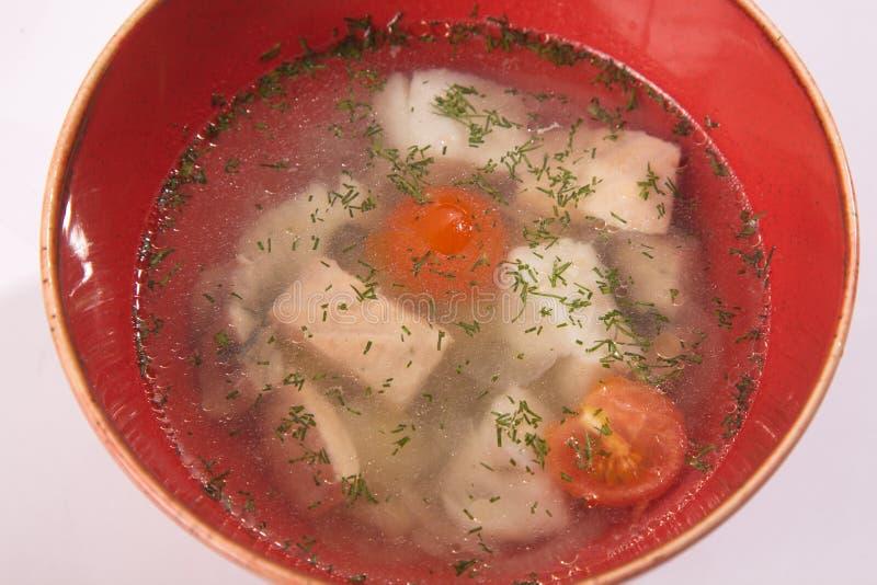 Σούπα ψαριών στο κόκκινο πιάτο στοκ εικόνα