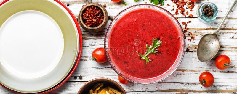 Σούπα gazpacho ντοματών στοκ εικόνα με δικαίωμα ελεύθερης χρήσης