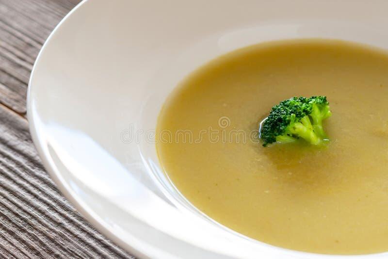 Σούπα Vegan - πουρές μπρόκολου, κρεμμύδι, πατάτες, σκόρδο, ελαιόλαδο στοκ φωτογραφίες