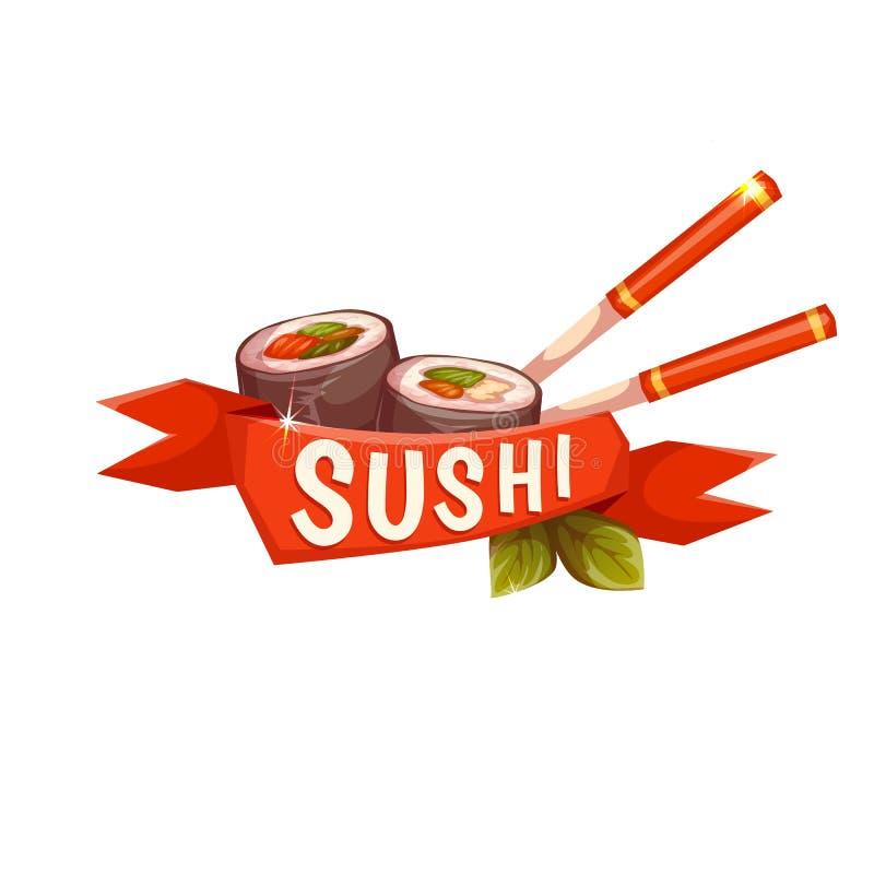Σούσια εμβλημάτων με chopstick και την κορδέλλα διάνυσμα διανυσματική απεικόνιση