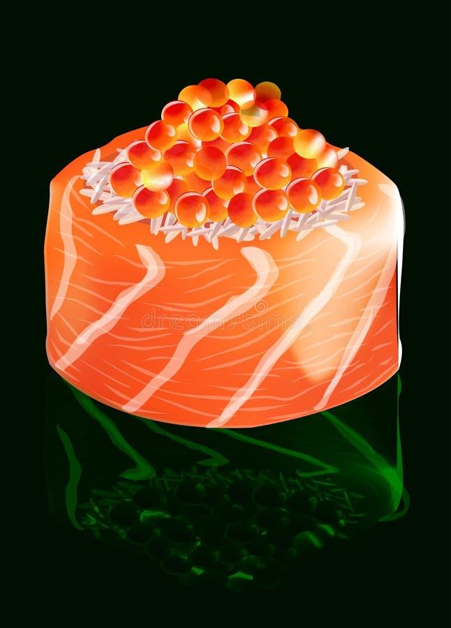Σούσια με το σολομό και το κόκκινο χαβιάρι, διανυσματική απεικόνιση διανυσματική απεικόνιση