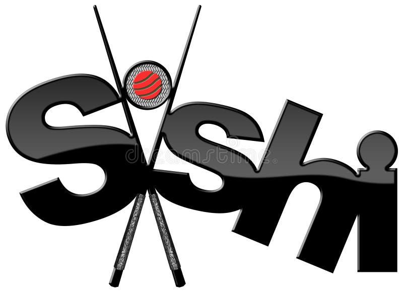 Σούσια - σύμβολο με μαύρα Chopsticks διανυσματική απεικόνιση