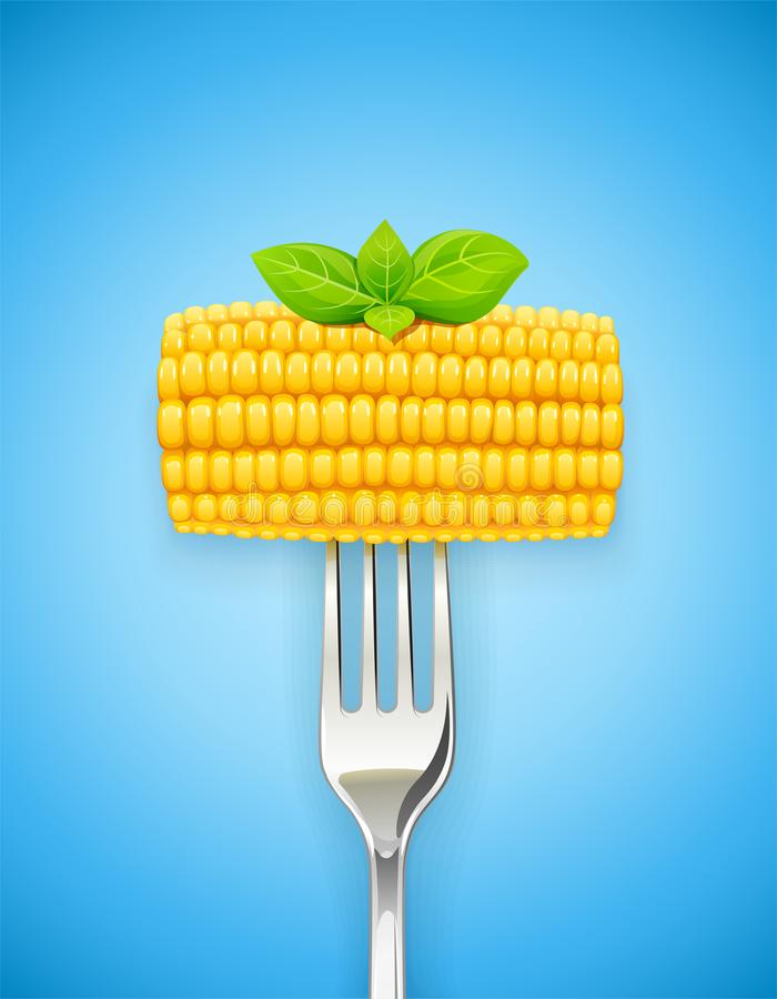 Σπάδικας καλαμποκιού στο δίκρανο Οργανική τροφή διανυσματική απεικόνιση