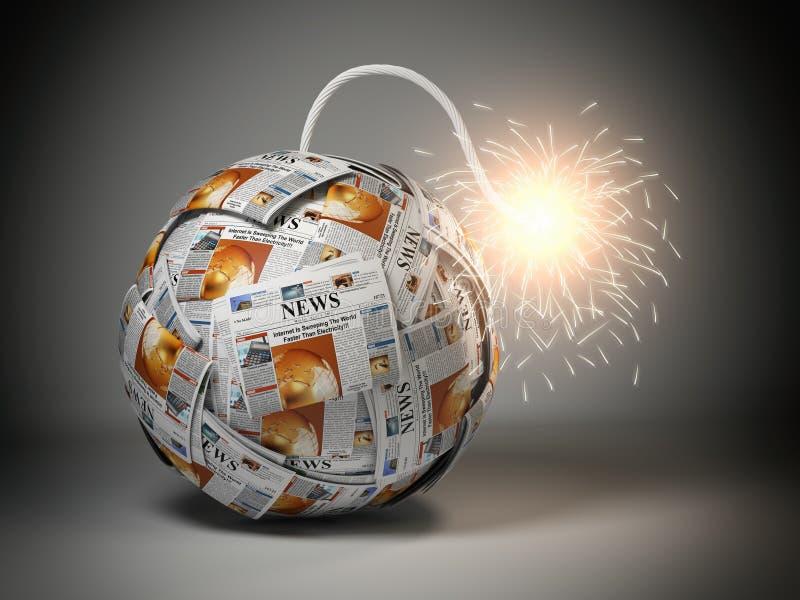 Σπάζοντας καυτή έννοια ειδήσεων Βόμβα από τις εφημερίδες με το φυτίλι και το s διανυσματική απεικόνιση