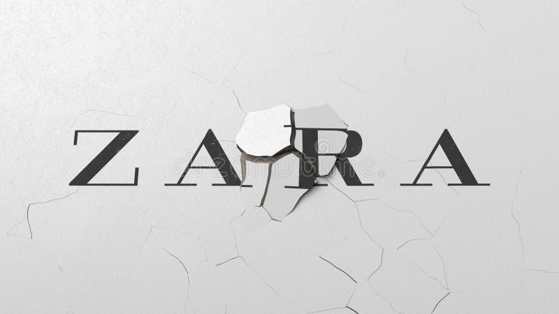 Σπάζοντας τοίχος με το χρωματισμένο λογότυπο της Zara Εννοιολογική εκδοτική τρισδιάστατη απόδοση κρίσης διανυσματική απεικόνιση