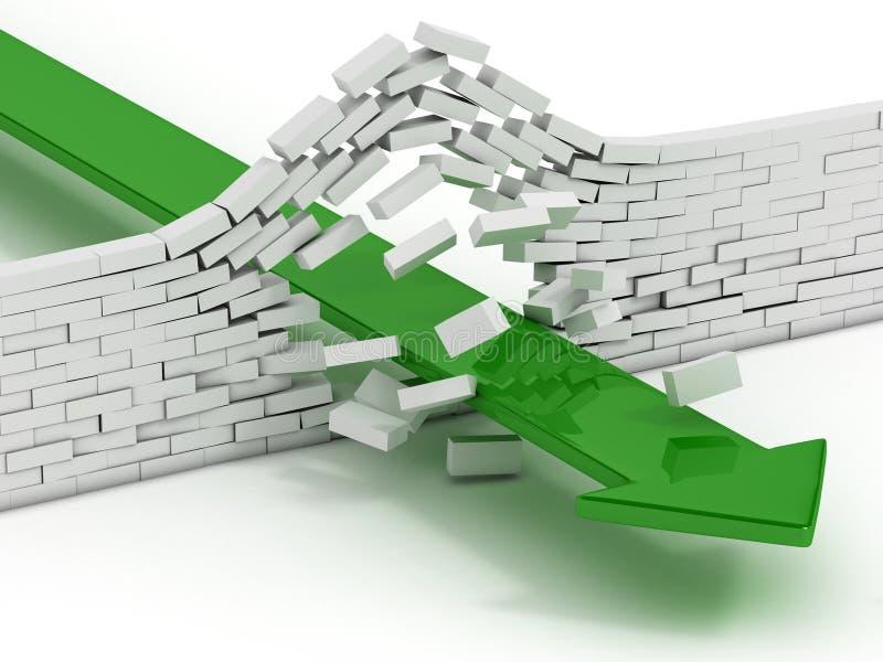 Σπάζοντας τουβλότοιχος βελών απεικόνιση αποθεμάτων