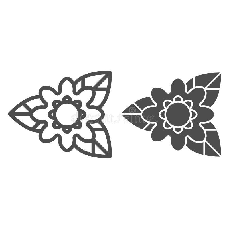 Σπάνια γραμμή και glyph εικονίδιο λουλουδιών Φύσης απεικόνιση που απομονώνεται διανυσματική στο λευκό Σχέδιο ύφους περιλήψεων εγκ διανυσματική απεικόνιση