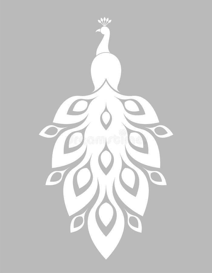 σπάνιο λευκό peacock πουλιών καλό διανυσματική απεικόνιση