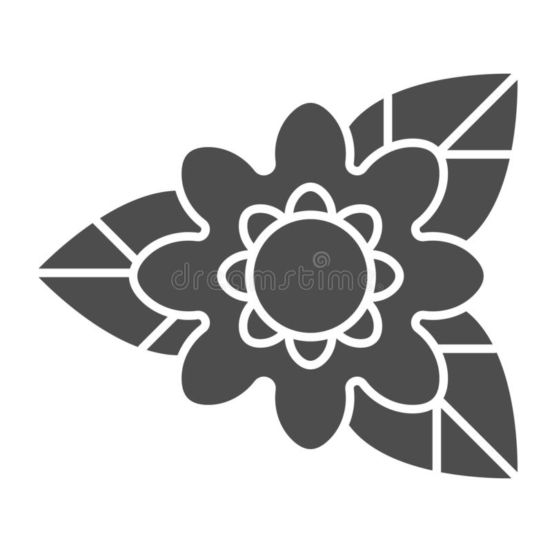 Σπάνιο στερεό εικονίδιο λουλουδιών Φύσης απεικόνιση που απομονώνεται διανυσματική στο λευκό Σχέδιο ύφους εγκαταστάσεων glyph, που διανυσματική απεικόνιση