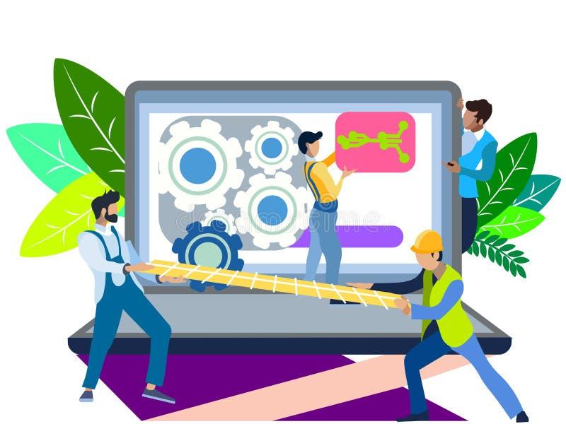 Σπάσιμο ενός φορητού προσωπικού υπολογιστή Κύριος του εξοπλισμού επισκευής στην εργασία Στο μινιμαλιστικό ύφος Επίπεδο διάνυσμα κ απεικόνιση αποθεμάτων