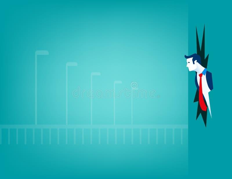 Σπάσιμο επιχειρηματιών μέσω του τοίχου απεικόνιση αποθεμάτων