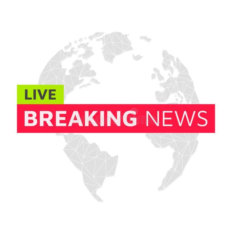 σπάσιμο κάθε πιό πρόσφατης αναπροσαρμογής ειδήσεων ζήστε Σφαίρα λογότυπων εμβλημάτων Αμερική, Ευρώπη απεικόνιση αποθεμάτων