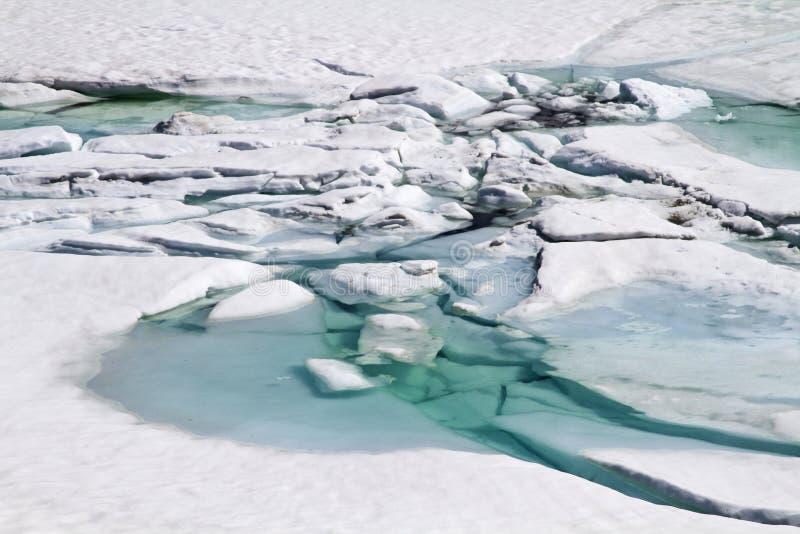 Σπάσιμο πάγου από τη λίμνη βουνών στοκ φωτογραφίες