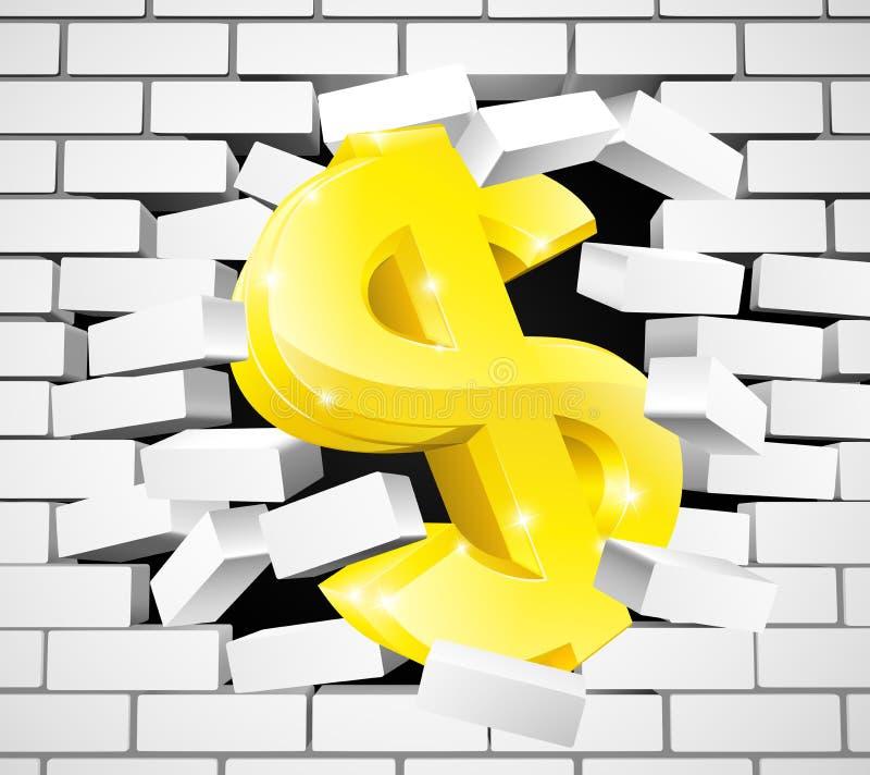 Σπάσιμο σημαδιών δολαρίων μέσω του άσπρου τουβλότοιχος ελεύθερη απεικόνιση δικαιώματος