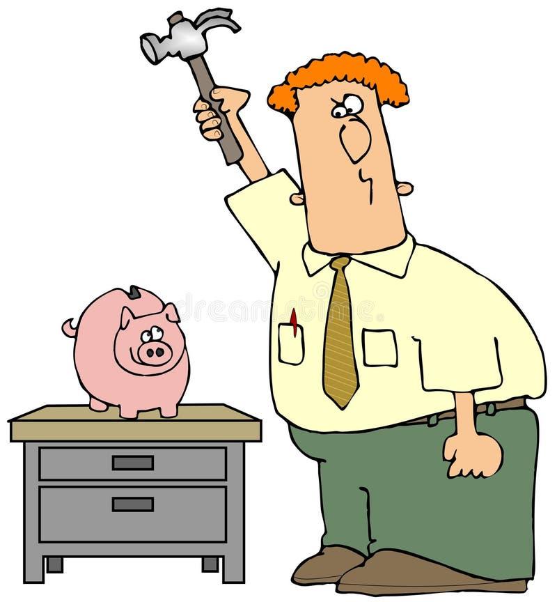 σπάσιμο τραπεζών piggy ελεύθερη απεικόνιση δικαιώματος