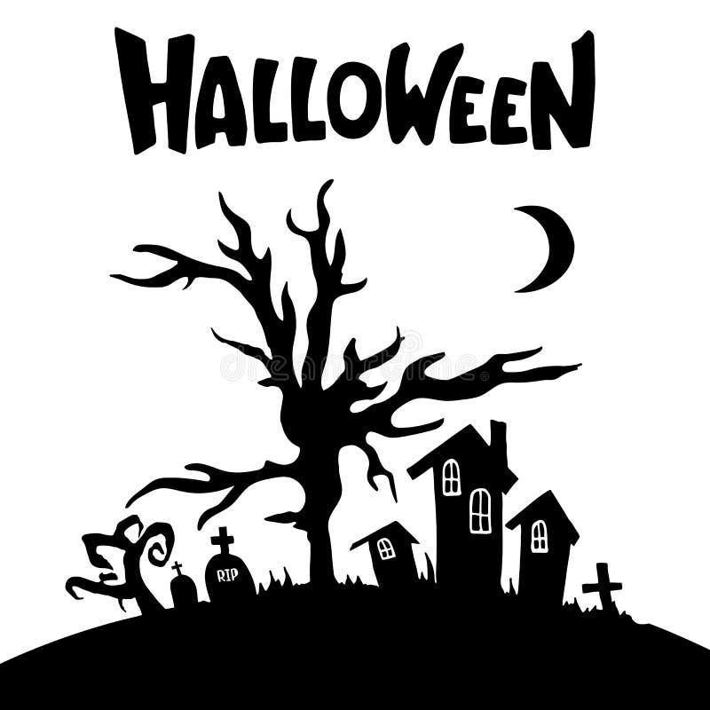 Σπίτια, δέντρα, τάφοι, σταυροί, σκιαγραφίες φεγγαριών διανυσματική απεικόνιση