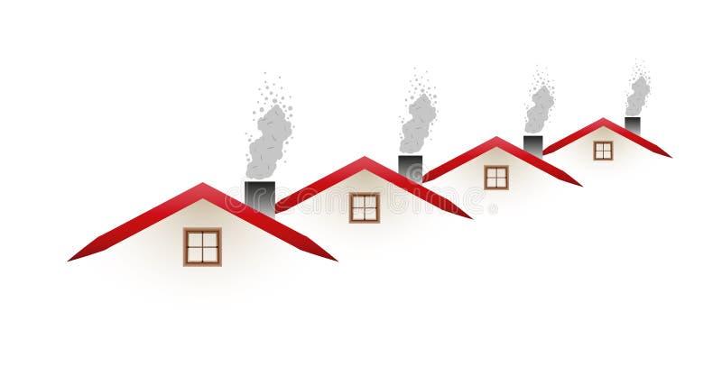 Σπίτια και καπνίζοντας στέγες απεικόνιση αποθεμάτων