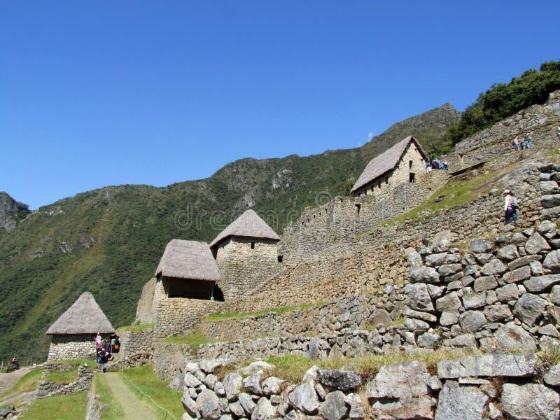 Σπίτια και κρεμώντας κήποι σε Machu Picchu στοκ φωτογραφίες με δικαίωμα ελεύθερης χρήσης