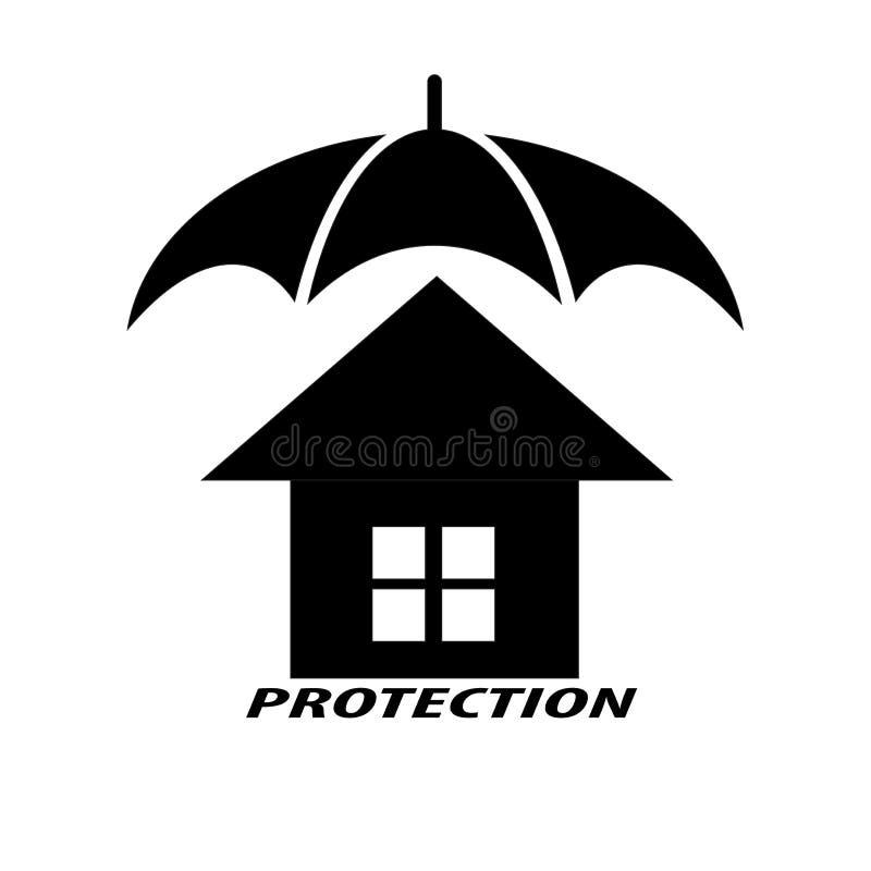 Σπίτια και ομπρέλες που συμβολίζουν την προστασία για το σπίτι διανυσματική απεικόνιση