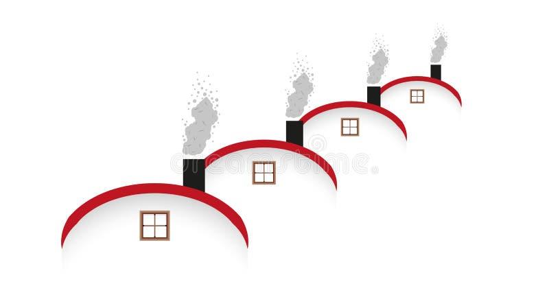 Σπίτια και στρογγυλευμένη στέγη και καπνίζοντας καπνοδόχος απεικόνιση αποθεμάτων