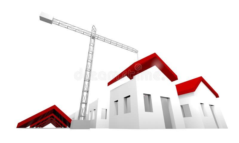 σπίτια κατασκευής κάτω ελεύθερη απεικόνιση δικαιώματος