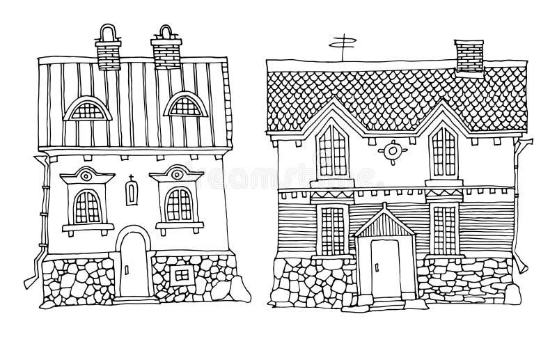 Σπίτια κινούμενων σχεδίων ελεύθερη απεικόνιση δικαιώματος
