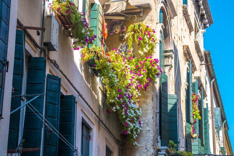Σπίτια με τα λουλούδια στα παράθυρα στη Βενετία στοκ εικόνες με δικαίωμα ελεύθερης χρήσης