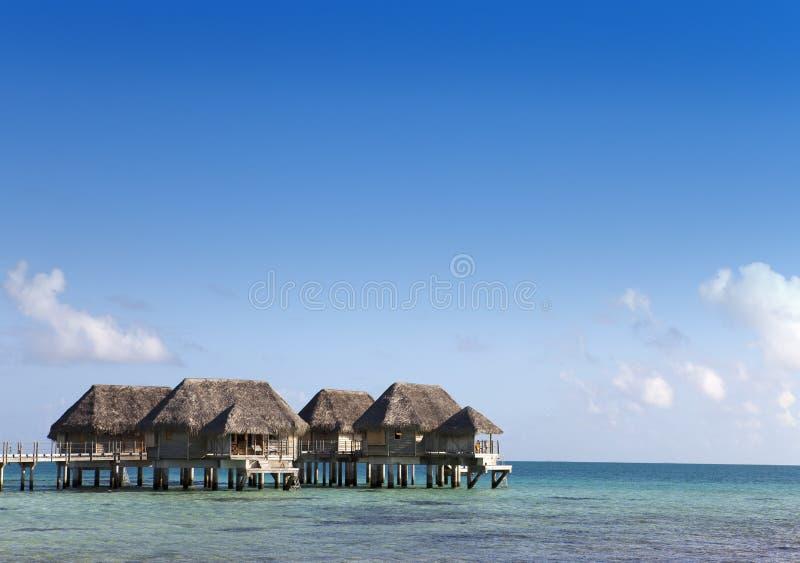 Σπίτια πέρα από το διαφανές ήρεμο θαλάσσιο νερό Ταϊτή στοκ εικόνες