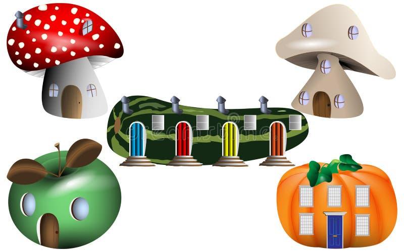 Σπίτια παραμυθιού φαντασίας στη φύση διανυσματική απεικόνιση