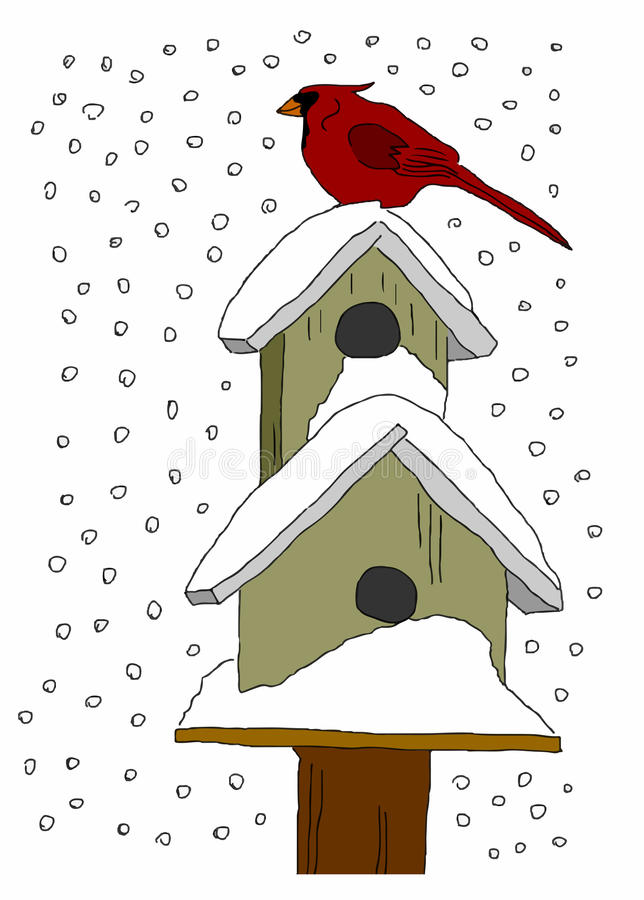 Σπίτια πουλιών στο χιόνι στοκ εικόνα