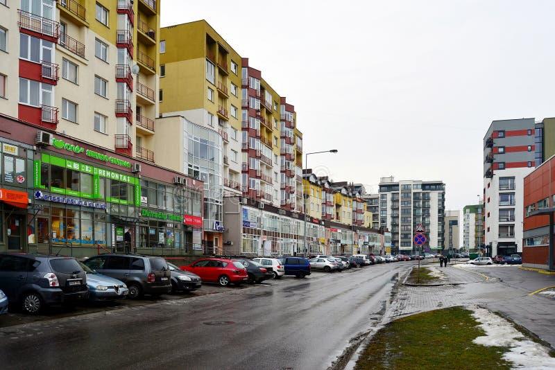 Σπίτια πόλεων Vilnius στην πόλη Nord περιοχής Zirmunai στοκ εικόνες