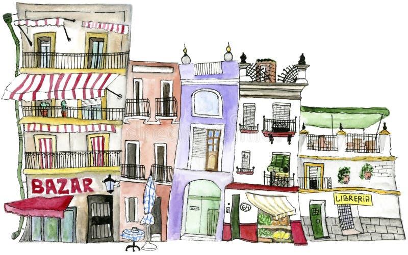 Σπίτια Σεβίλη Watercolor απεικόνιση αποθεμάτων