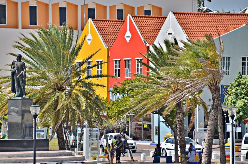 Σπίτια σε Willemstad, Κουρασάο στοκ εικόνες