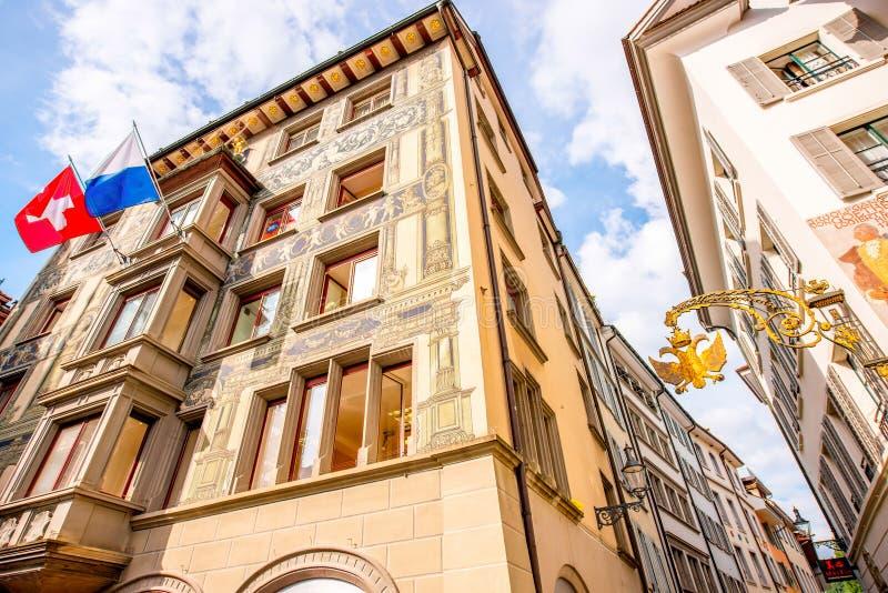 Σπίτια στην πόλη Λουκέρνης στοκ εικόνες με δικαίωμα ελεύθερης χρήσης