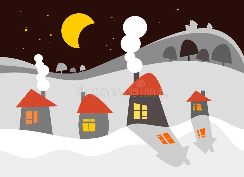 Σπίτια στο χιόνι διανυσματική απεικόνιση