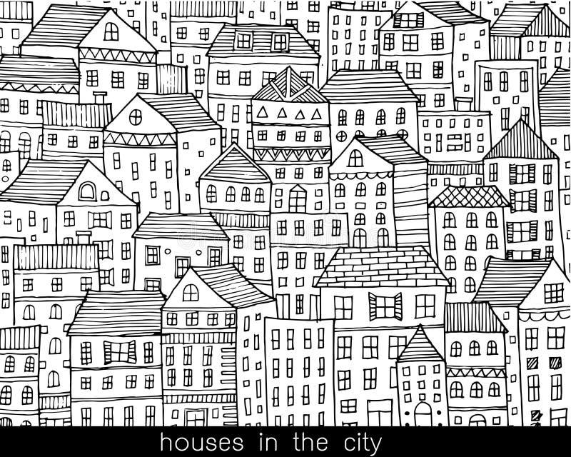 Σπίτια στο ύφος σκίτσων πόλεων doodle ελεύθερη απεικόνιση δικαιώματος
