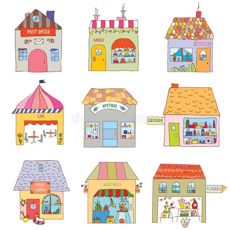 Σπίτια της αστείας πόλης καθορισμένης - επιχειρήσεις και γραφεία απεικόνιση αποθεμάτων