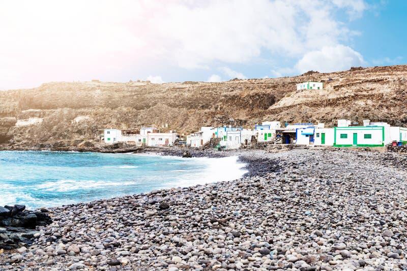 Σπίτια του μικρού χωριού Los Molinos ψαράδων ` s σε Fuerteventura στοκ εικόνες