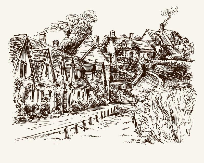 Σπίτια του υπόλοιπου κόσμου του Άρλινγκτον στο χωριό Bibury, Αγγλία διανυσματική απεικόνιση