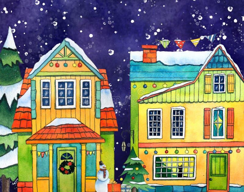 Σπίτια του χωριού πόλεων χειμερινών οδών Watercolor με τις χιονοπτώσεις Συρμένη χέρι απεικόνιση watercolor απεικόνιση αποθεμάτων