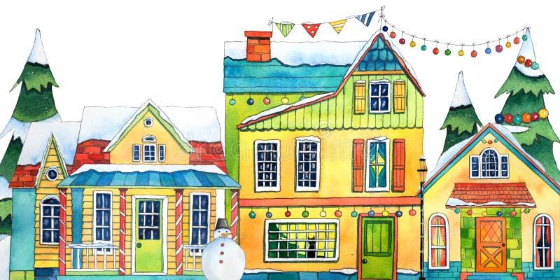 Σπίτια του χωριού πόλεων χειμερινών οδών Watercolor Συρμένη χέρι απεικόνιση watercolor διανυσματική απεικόνιση